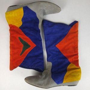 Irregular Choice Ayre Multi Suede Mid-Calf Boots